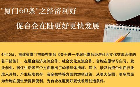 """【图侃产经】""""厦门60条""""之经济利好 促台企在陆更好更快发展"""
