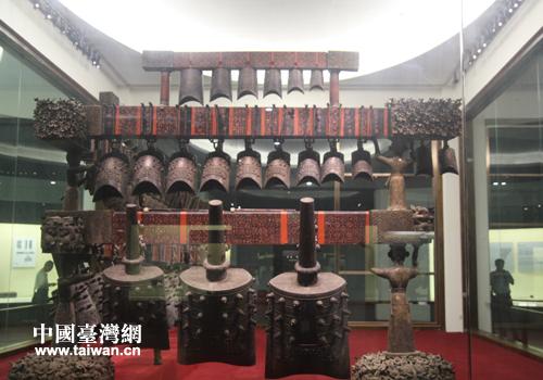 湖北省博物馆内的青铜乐器曾侯乙编钟(中国台湾网 段雯婷 摄)