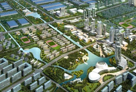 江苏(泰州)新能源产业园区中心鸟瞰图   泰州市新能源产业园位于泰州市海陵区西部,交通便捷,328国道穿境而过,毗邻江海高速、宁启铁路,距扬州泰州机场、长江港仅20公里,区位优势明显。园区规划面积30平方公里,人口10万,2011年实现地区生产总值35.7亿元、工业总产值219亿元、财政收入3.