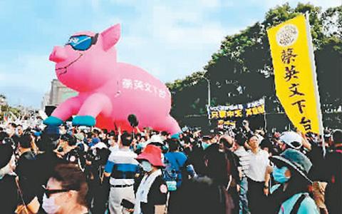 11月22日,台湾50多个团体和政党发起大游行,反对民进党当局明年1月1日起开放美国瘦肉精(莱克多巴胺)猪肉入境,抗议关闭中天新闻台。图为游行队伍。.jpg