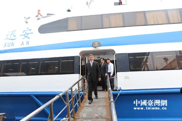 国台办主任张志军首访金门,盼两岸关系进一步发展。(中国台湾网 陈佳慧摄)