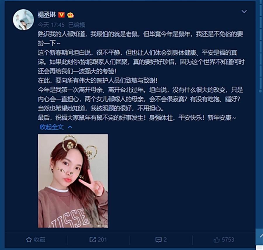 杨丞琳陪李荣浩首在大陆过年 安慰母亲:我被照顾得很好
