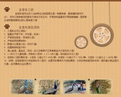 八达岭野生动物园官网有关自驾车游览须知 (来源:网页截图)