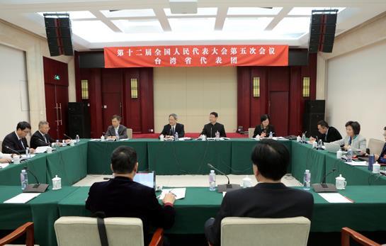 张志军参加十二届全国人大五次会议台湾代表团全体会议