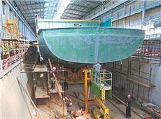 庆富公司承造台海军猎雷舰,却涉嫌利用假文件向台湾第一银行等多家银行诈贷。图为猎雷舰体。(图片来源:台湾《中时电子报》)_副本.jpg