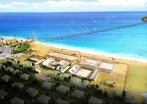 沙滩足球位于海阳凤翔滩d区(海阳旅游度假区君子连理岛桥头广场西侧